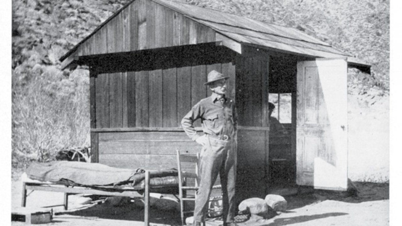 "Carl Eytel spent most of his time outside his cabin, even sleeping outside. This image appeared in the September 1948 edition of The Desert Magazine with an article written by Edmund C. Jaeger, in which he wrote, ""Trying to inure himself to hardships in the belief it would toughen his constitution, he often slept through the winter nights without sufficient bedding. 'By George,' he would say, 'it was cold last night. I shivered to the bone but never mind, that's good for me.'"""
