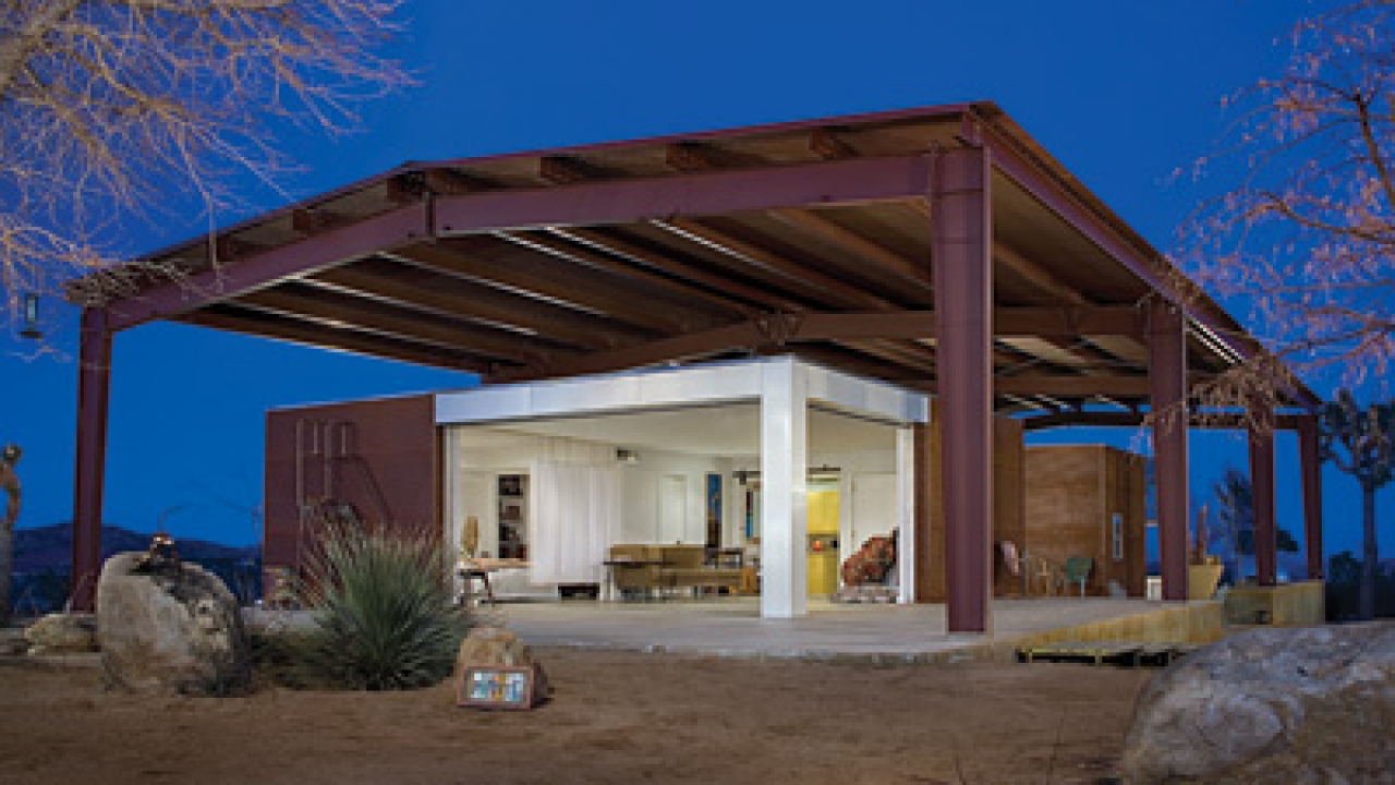 "PIONEERTOWN HOUSE - Lloyd Russell, architect for the ""green"" house on Burns Canyon Road in Pioneertown, refers to his ""handmade modernism"": sharp design and better, affordable construction."