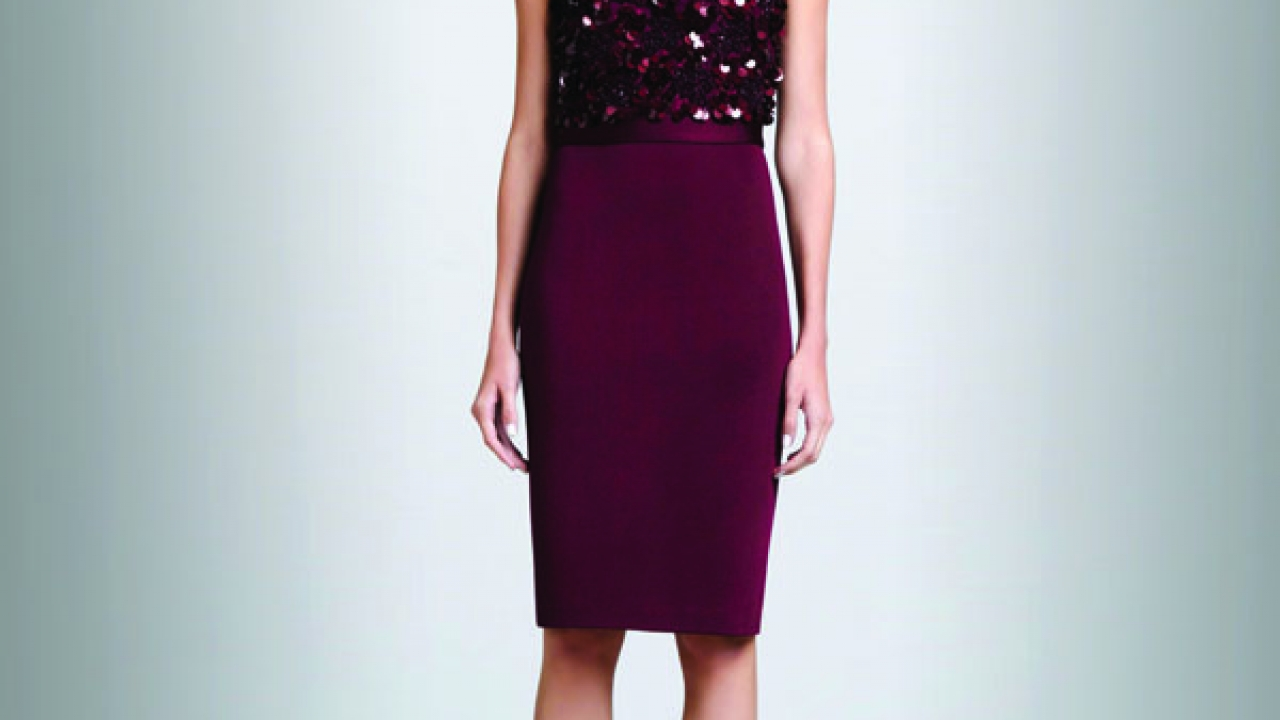 St. John's sateen Milano dress in chambord.