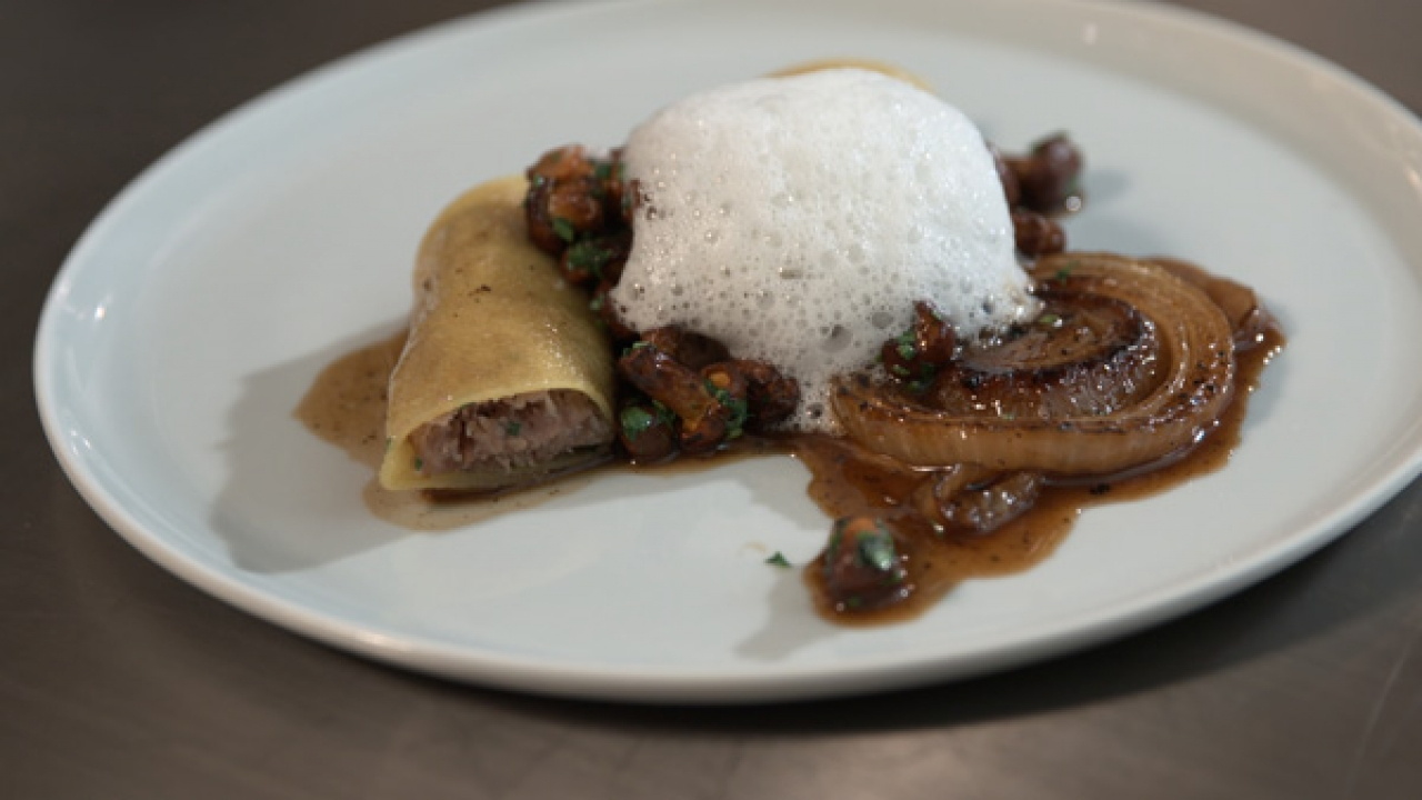 Workshop Kitchen + Bar Chef Michael Beckman served Duck Pasta Cannelloni to Nadia G.