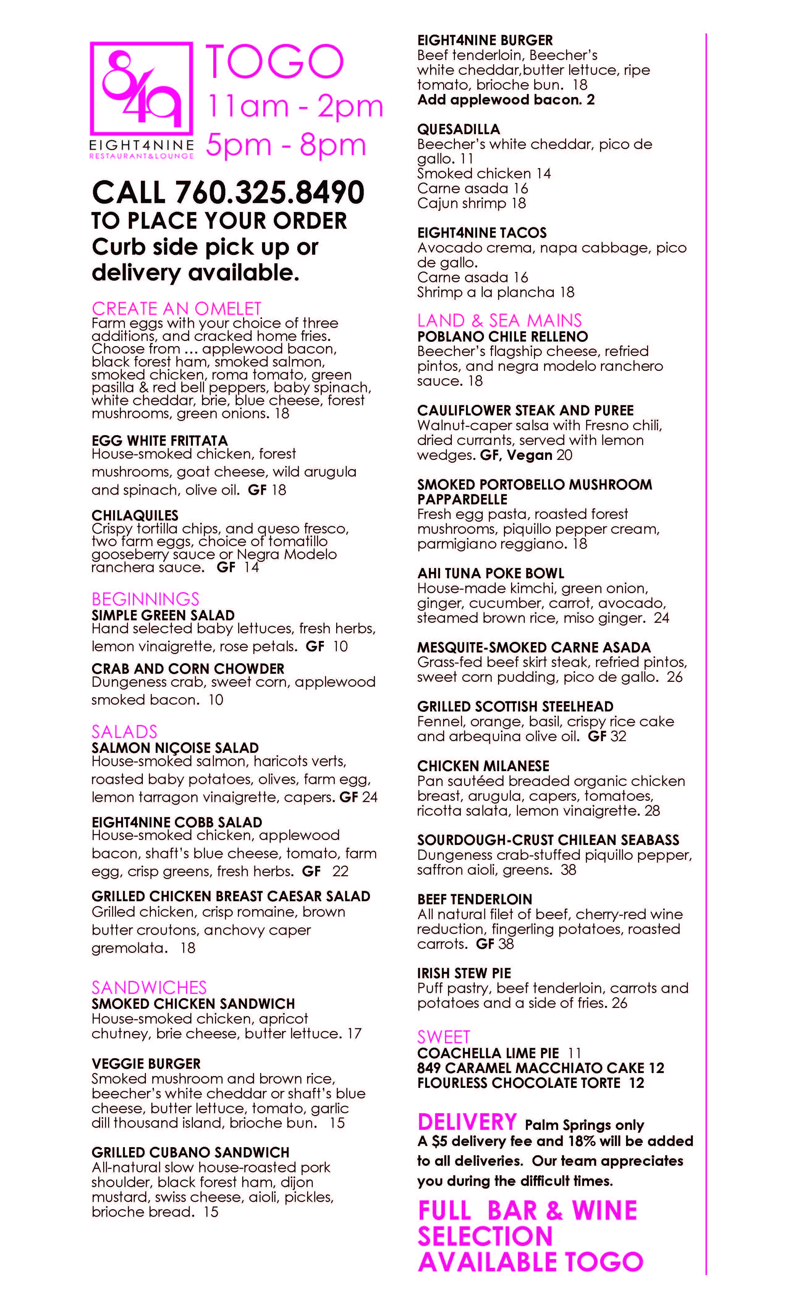 Lunch & Dinner Take Out with Curbside Pick-Up or Delivery at Eight4Nine Restaurant in Palm Springs
