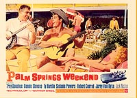 Jerry Van Dyke and Ty Hardin ham it up poolside in Palm Springs Weekend.