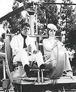 Dean Martin and Sharon Tate take off in his mini-helicopter in The Wrecking Crew.