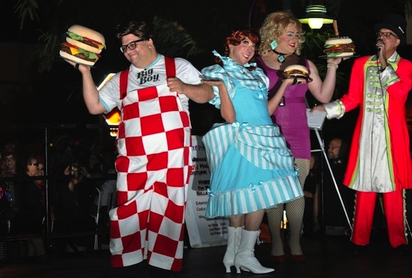 the winning entry at last years halloween costume contest on arenas road was this fast food trio of big boy wendys and hamburger marys with emcee brian