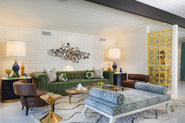 LIVING ROOM: The Living Room Opens To The Courtyard Pool And The Dining  Room. U201cThe Vintage C. Jeré Wall Sculpture Is Perfectly At Home On The New  Slump ...