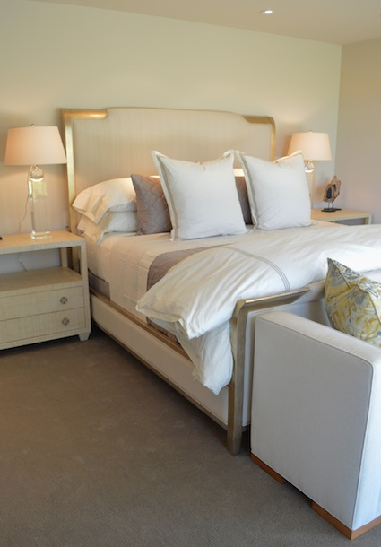 A Crisp Neutral Modern Bed In Rancho Mirage By Dann Inc. Including A Duvet,  Coverlet, Sheets, Shams And Euro Shams.