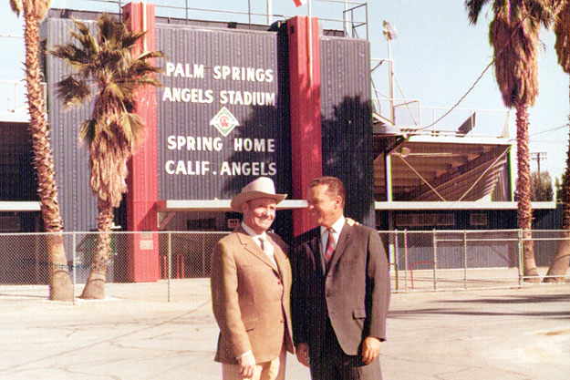 Gene Autry at Angels Stadium with the Angels' general manager, Dick Walsh, in 1970