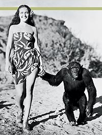 Dorothy Lamour and chimpanzee co-star Jiggs stroll leisurely in Her Jungle Love.